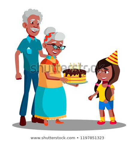 Afro American Old Man, Woman Celebrating Child Granddaughter Birthday Vector. Isolated Illustration Stock photo © pikepicture