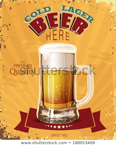Oktoberfest party poster illustration with fresh lager beer and wheatear on dark background. Vector  Stock photo © articular