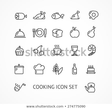 fresh food concept with organic line icons menu stock photo © cienpies