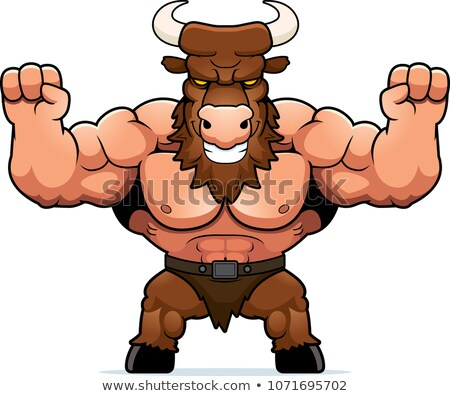 Cartoon Minotaur Celebrating Stock photo © cthoman