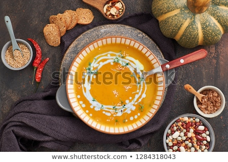 Bowl of lentil coconut creamy soup Stock photo © Alex9500