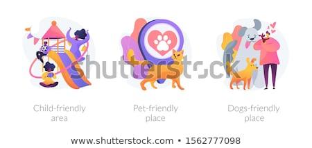 Kids and pets urban scene Stock photo © bluering