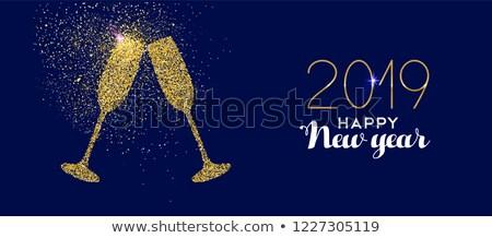 new year 2019 blue glitter glass toast card stock photo © cienpies