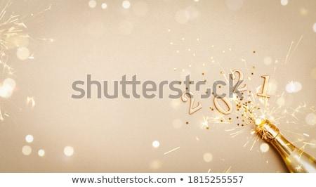 Navidad año nuevo champán brindis banner alegre Foto stock © cienpies