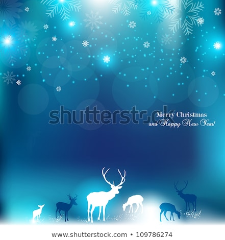 陽気な · クリスマス · 青 · グリッター · トナカイ - ストックフォト © cienpies