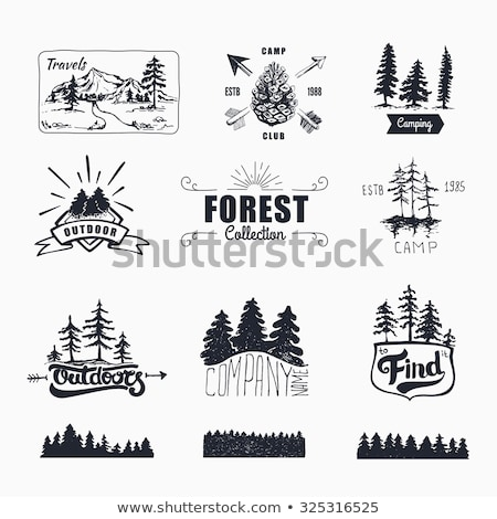 mountain emblems set vintage hand drawn adventure logos camping labels collection stock vector pa stock photo © jeksongraphics