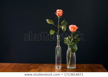 美しい · ピンク · バラ · 暗い · 木製のテーブル · スペース - ストックフォト © ruslanshramko