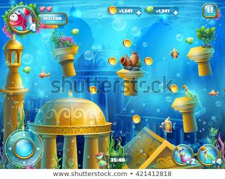 game template with underwater background stock photo © colematt