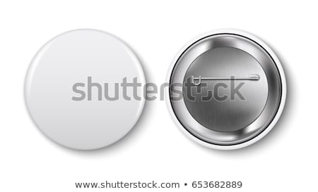 White Empty Badge Mockup Vector. Pin Brooch White Button Blank. Two Sides. Front, Back View. Brandin Stock photo © pikepicture