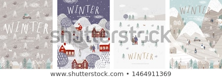 merry christmas nature and town holiday vector stock photo © robuart