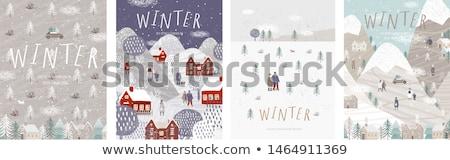 alegre · boneco · de · neve · ilustração · dom · céu · noturno · inverno - foto stock © robuart