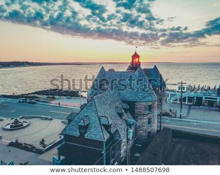 Haunted house on island at sunset Stock photo © colematt