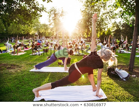 big group of adults attending a yoga class outside in park Stock photo © Lopolo