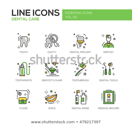 Dental diseases and treatment thin line icons Stock photo © vectorikart