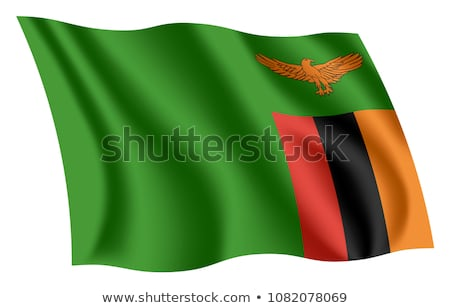 integet · zászló · Zambia · izolált · fehér - stock fotó © daboost