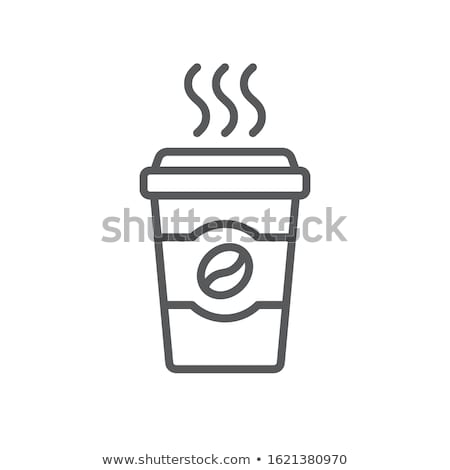 Coffee cup icon. Flat design style. Coffee paper cup silhouette in stylish color stock photo © Natali_Brill
