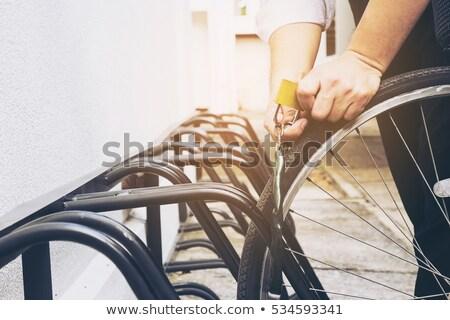 Man stealing bike in the park Stock photo © colematt
