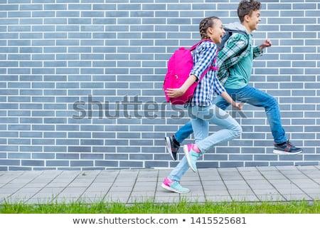 dwa · dziewcząt · szkoła · podstawowa · na · zewnątrz · szkoły · szczęśliwy - zdjęcia stock © lopolo