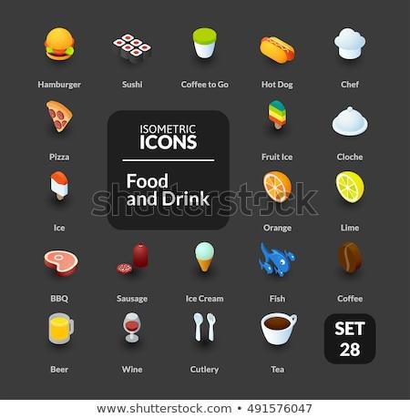 Stockfoto: Fast · food · schets · kleur · isometrische · iconen · eps