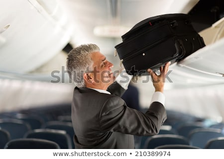 Businessman with luggage  look to an airplane Stock photo © ra2studio