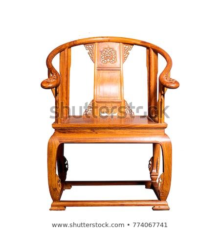 klasszikus · csíkos · barna · fotel · izolált · fehér - stock fotó © Lady-Luck
