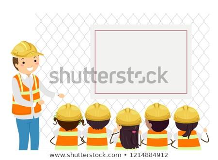 little · girl · espaço · capacete · crianças · criança · arte - foto stock © lenm