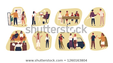Stock photo: Teenagers Arguing With Adults Vector Cartoon Characters Set