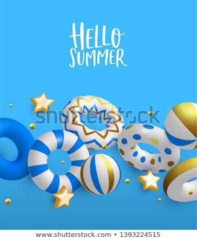 Hello Summer card of 3d gold lifesavers and balls Stock photo © cienpies