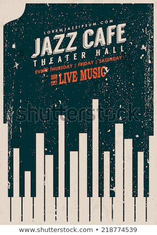 Jazz dzień plakat fortepian kluczowych Night City Zdjęcia stock © cienpies