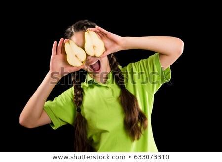 Zöld ruházat szemüveg szett lány főzés Stock fotó © toyotoyo