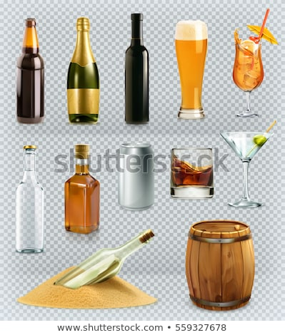 Full Glass Of Alcoholic Beverage Cognac Vector Stock photo © pikepicture