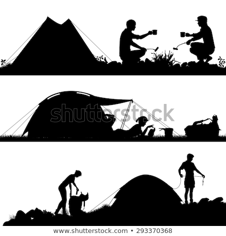 Camping People, Man in Tent and Woman Reading Stock photo © robuart