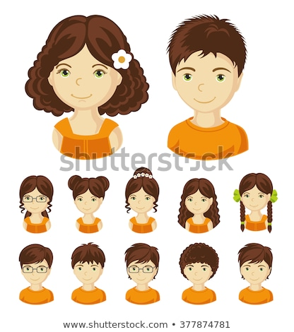 Boy with Long Brown Hair, Child or Kid Avatar Stock photo © robuart