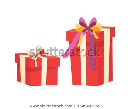 boxes with presents decorated by silk tape bow top stock photo © robuart