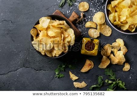 Chips steen voedsel hout ruimte plaat Stockfoto © masay256