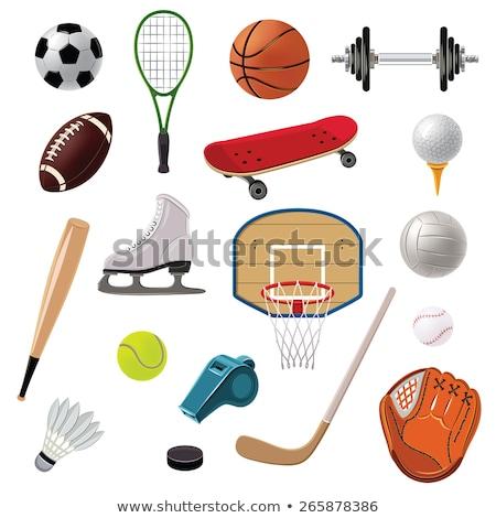 Futebol isolado ilustração equipamentos esportivos grande preto e branco Foto stock © robuart