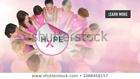 mellrák · nő · tart · mell · izolált · fehér - stock fotó © wavebreak_media