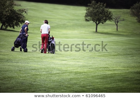 Women walking at golf course with trolleys. Stock photo © lichtmeister