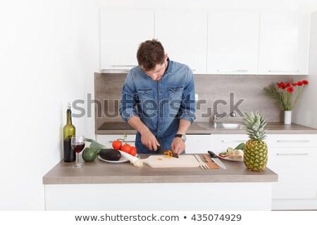 Portret knappe man permanente alleen moderne keuken Stockfoto © wavebreak_media