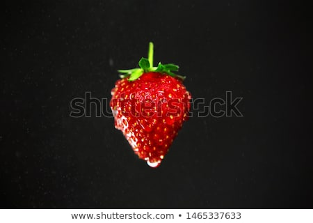 fresh ripe strawberry with water drops on black background stock photo © marylooo