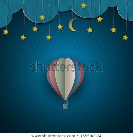 Papel balão de ar quente céu noturno nuvens pessoas estrelas Foto stock © cienpies