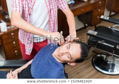 hombre · barbero · recto · navaja · barba · personas - foto stock © kzenon
