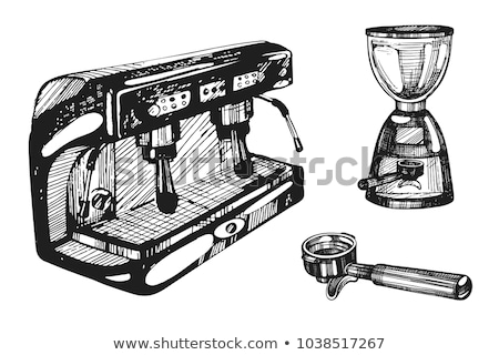 coffee machine holder and cup retro set vector stock photo © pikepicture