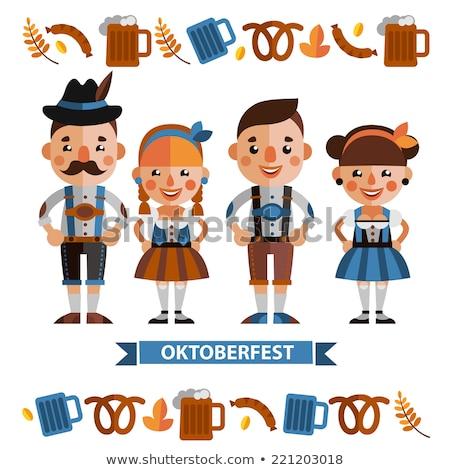 Stijlvol vector oktoberfest bier schets Stockfoto © barsrsind