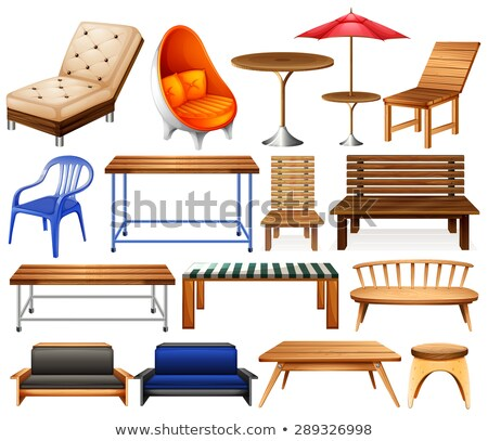 Wooden Benches and Table Outdoors Furniture Vector Stock photo © robuart