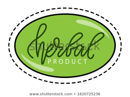 Sticker with Path Herbal or Vegan Product Vector Stock photo © robuart