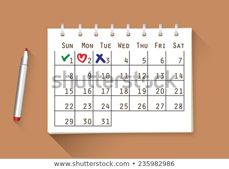 Calendar, planner or organizer icon with check mark and cross. Working days and days off. Save the d Stock photo © kyryloff