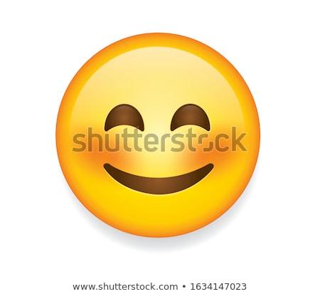 Smiling, blushing emoji vector illustration Stock photo © barsrsind