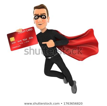 3D ladrón vuelo senalando tarjeta de crédito ilustración Foto stock © 3dmask