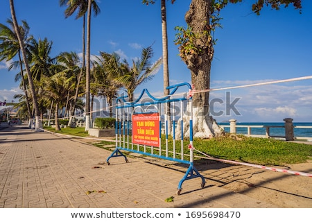 Corona Virus threat closes beaches and public places in many countries. The inscription PREVENTION O Stock photo © galitskaya